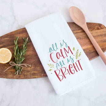 All is Calm All is Bright Handlettered Decorative Christmas Holiday Kitchen Hand Towel