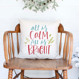 all is calm all is bright white canvas or burlap christmas holiday pillow cover by Heart & Willow Prints heartandwillowprints