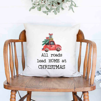 All roads lead home at Christmas Holiday White Canvas Pillow Cover, Farmhouse Christmas Decor