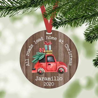 All roads lead home at Christmas personalized ornament
