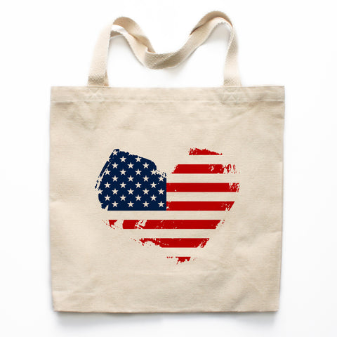 American Flag Heart Canvas Tote Bag
