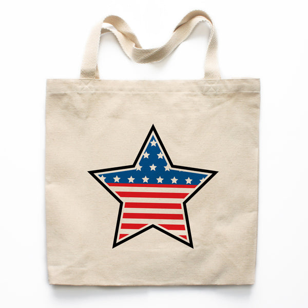 American Flag Star Canvas Tote Bag