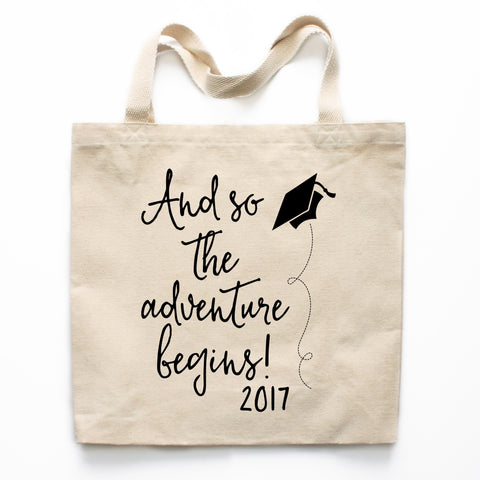 And So The Adventure Begins Graduation Canvas Tote Bag