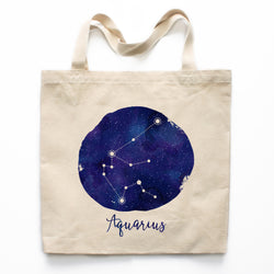 Aquarius Zodiac Constellation Canvas Tote Bag