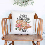 Baking Christmas Cheer Gingerbread cookes and spices Christmas Holiday White Canvas Pillow Cover, Farmhouse Christmas Decor