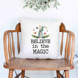 believe in the magic candle lantern Christmas Holiday White Canvas Pillow Cover, Farmhouse Christmas Decor