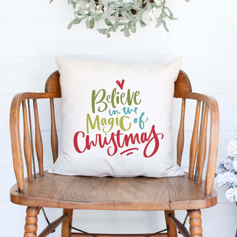 believe in the magic of white canvas christmas holiday pillow cover by Heart & Willow Prints heartandwillowprints