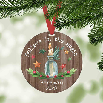 Believe in the magic personalized Christmas ornament