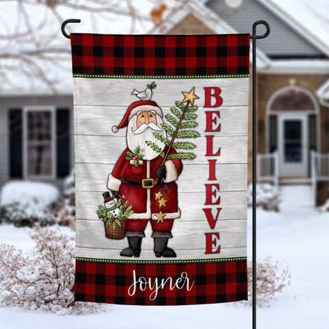 Believe in Santa christmas holiday personalized Garden Flag