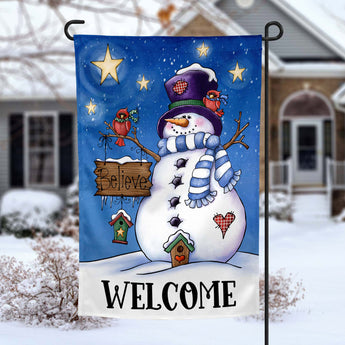 Believe Snowman winter christmas holiday personalized Garden Flag