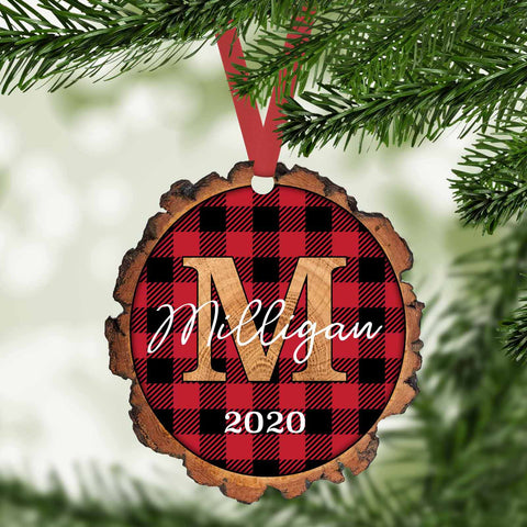 red buffalo plaid personalized faux wood slice christmas ornament