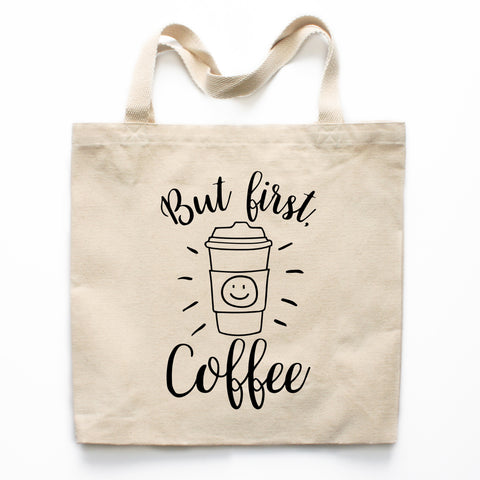 But First Coffee Canvas Tote Bag