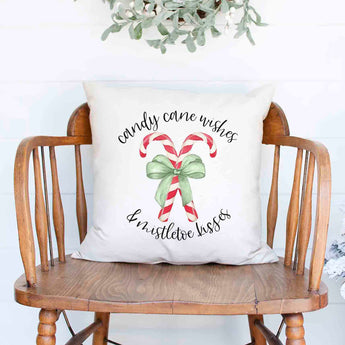 candy cane wishes and mistletoe kisses Christmas Holiday White Canvas Pillow Cover, Farmhouse Christmas Decor