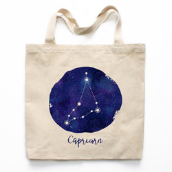Capricorn Zodiac Constellation Canvas Tote Bag