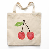 Watercolor Cherry Canvas Tote Bag