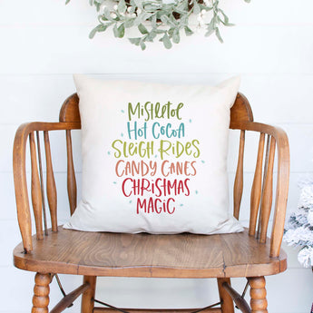 mistletoe hot cocoa sleigh rides candy canes christmas magic white canvas or burlap christmas holiday pillow cover by Heart & Willow Prints heartandwillowprints