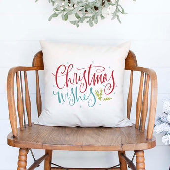 christmas wishes white canvas or burlap christmas holiday pillow cover by Heart & Willow Prints heartandwillowprints