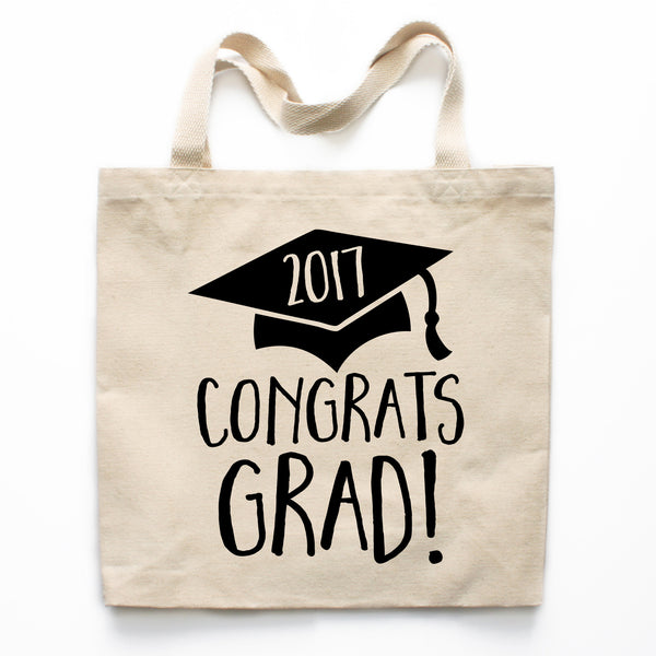 Congrats Grad Graduation Canvas Tote Bag