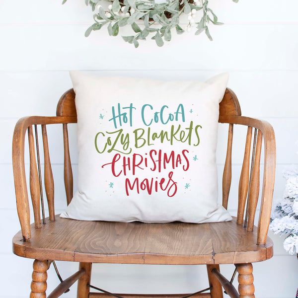 hot cocoa cozy blankets christmas movies white canvas or burlap christmas holiday pillow cover by Heart & Willow Prints heartandwillowprints