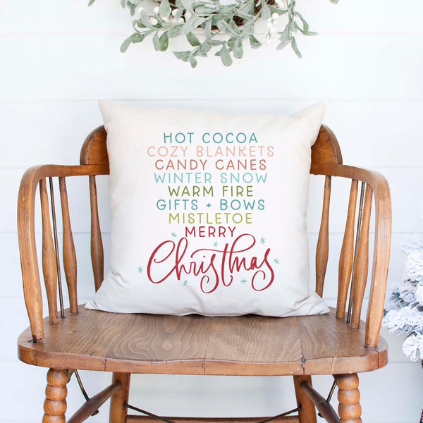 Cozy christmas list white canvas or burlap christmas holiday pillow cover by Heart & Willow Prints heartandwillowprints
