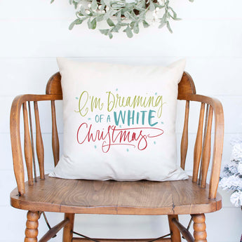 I'm dreaming of a white christmas white canvas or burlap christmas holiday pillow cover by Heart & Willow Prints heartandwillowprints