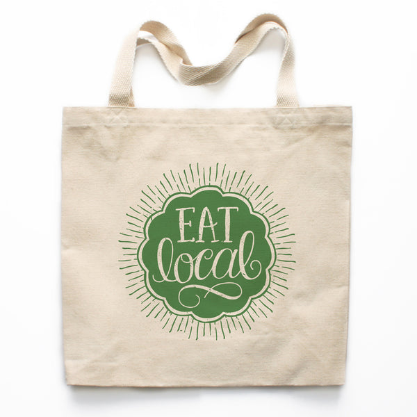 Eat Local Farmer's Market Canvas Tote Bag