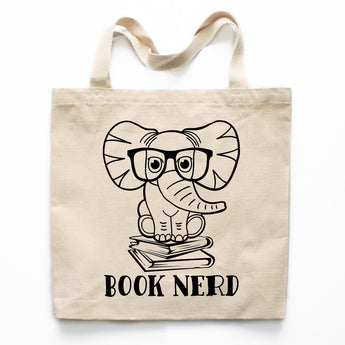 Elephant Book Nerd Canvas Tote Bag