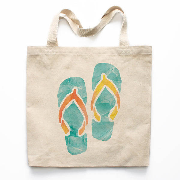 Watercolor Flip Flops Canvas Tote Bag