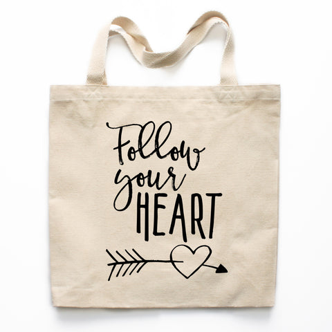 Follow Your Heart Canvas Tote Bag