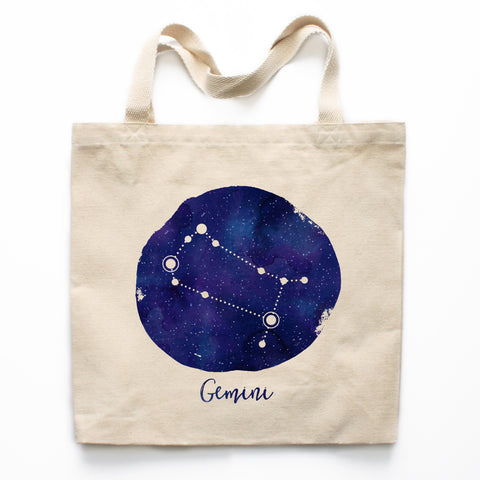 Gemini Zodiac Constellation Canvas Tote Bag
