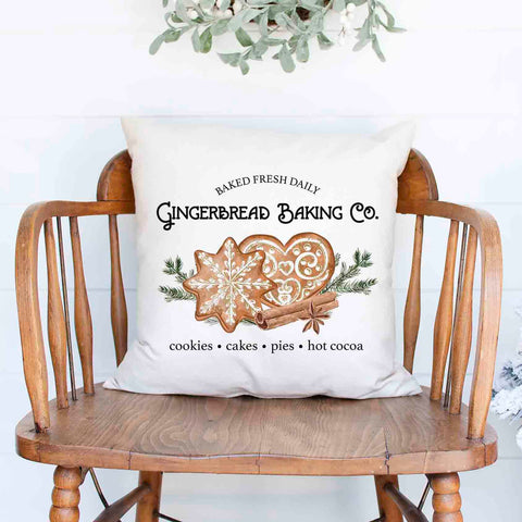 gingerbread baking company Christmas Holiday burlap Pillow Cover, Farmhouse Christmas Decor
