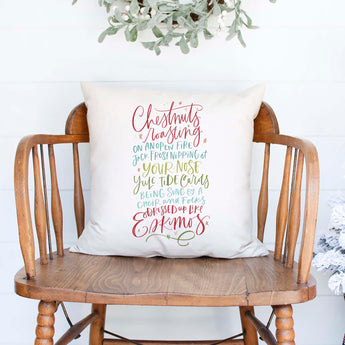 chestnust roasting on an open fire white canvas or burlap christmas holiday pillow cover by Heart & Willow Prints heartandwillowprints