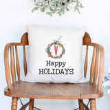 Happy holidays Christmas Holiday White Canvas Pillow Cover, Farmhouse Christmas Decor