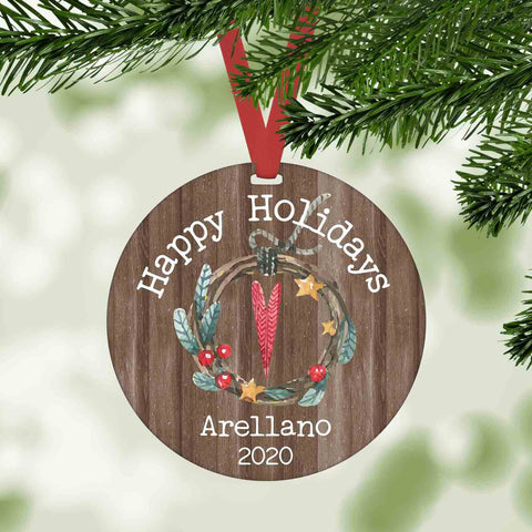 happy holidays personalized christmas ornament
