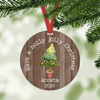 Have a holly jolly christmas personalized farmhouse christmas ornament