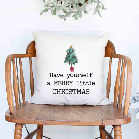 Have yourself a merry little Christmas Holiday White Canvas Pillow Cover, Farmhouse Christmas Decor