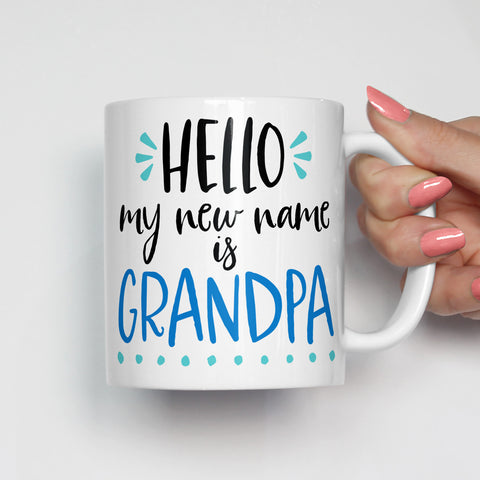 Hello My New Name is Grandpa Mug