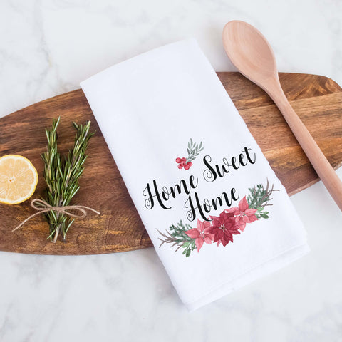 Home Sweet Home Christmas Poinsettia Kitchen Decorative Towel, Holiday Home Decor, Christmas Kitchen Decor