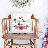 Home Sweet Home Poinsettia Christmas White Canvas Pillow Cover