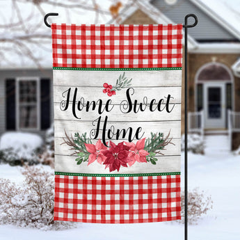 Home Sweet Home Poinsettia Garden Flag