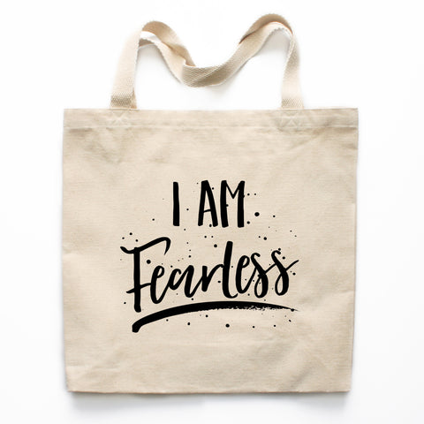 I Am Fearless Motivational Canvas Tote Bag