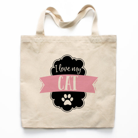 I Love My Cat Canvas Tote Bag