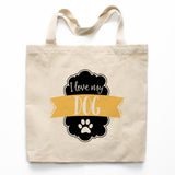 I Love My Dog Canvas Tote Bag