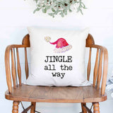 Jingle all the way Christmas Holiday White Canvas Pillow Cover, Farmhouse Christmas Decor