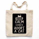 Keep Calm And Adopt A Cat Canvas Tote Bag