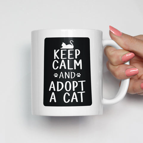 Keep Calm and Adopt a Cat Pet Adoption Mug