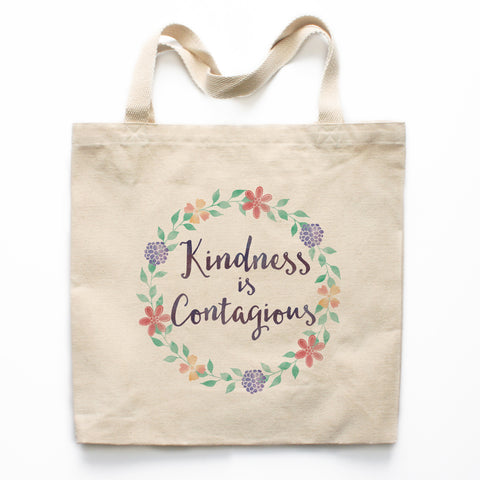 Kindness Is Contagious Canvas Tote Bag