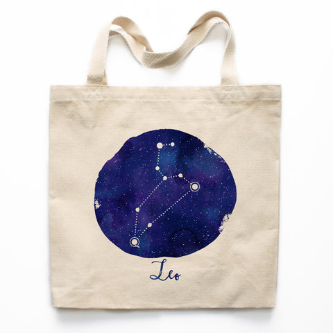 Leo Zodiac Constellation Canvas Tote Bag