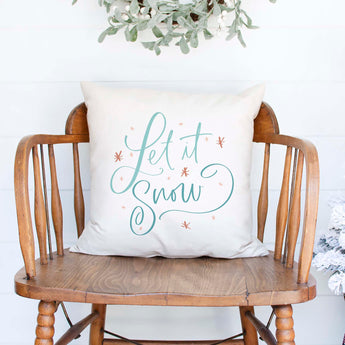 let it snow white canvas or burlap christmas holiday pillow cover by Heart & Willow Prints heartandwillowprints