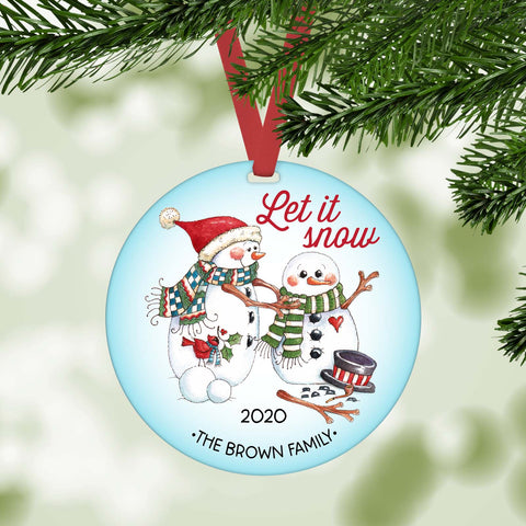 let is snow snowman personlized christmas ornament